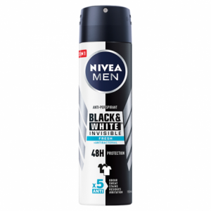 NIVEA MEN DEO SPRAY INVISIBLE BLACK& WHITE FRESH+ ANTIBACTERIAL ANTI-PERSPIRANT 150ML